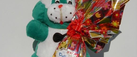 Art.718 uovo cioccolato gr.400 + peluche coniglio