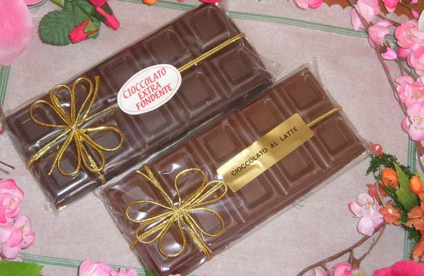 Barre cioccolato gr.200 nastrino oro  Latte  o  Fondente